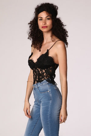 Black V neck lace crop top
