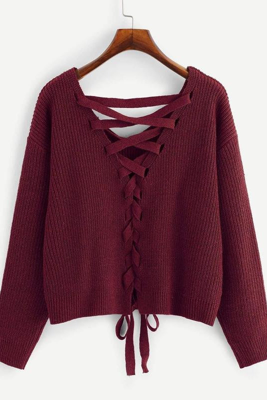 Plus Lace-up Drop Shoulder Sweater