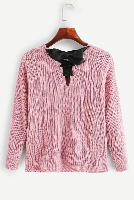 V Neckline Ribbon Lace-Up Back Sweater