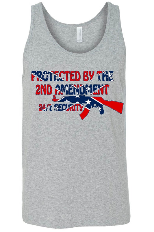 Men's Confederate Rebel Flag Tank Top Protected By The 2nd Amendment