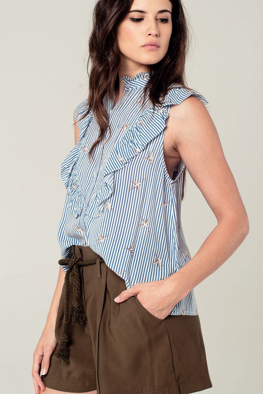 Blue striped ruffled shirt with birds print detail