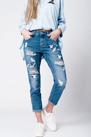 Blue wash mom jeans bird embroidery
