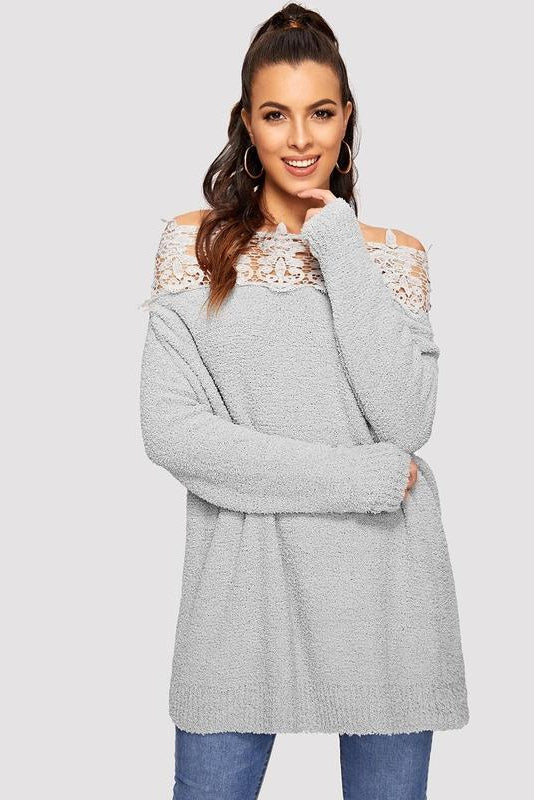 Floral Lace Insert Bardot Sweater