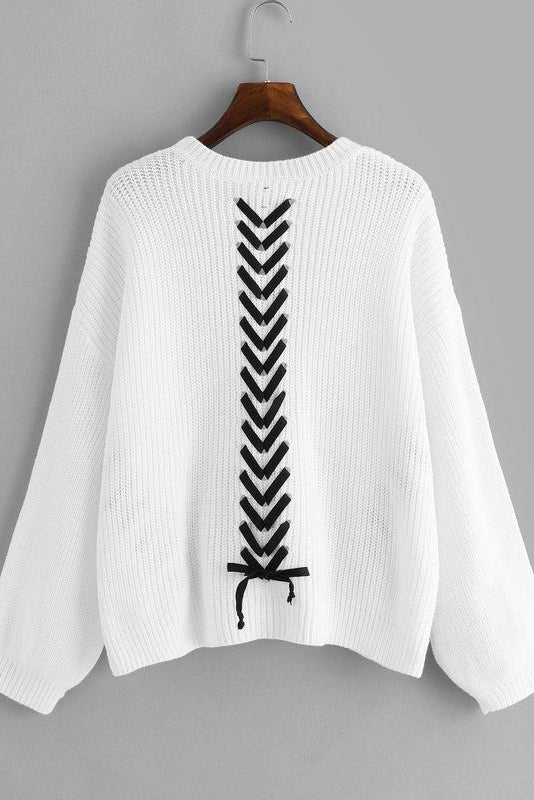 Plus Lace Up Lantern Sleeve Sweater