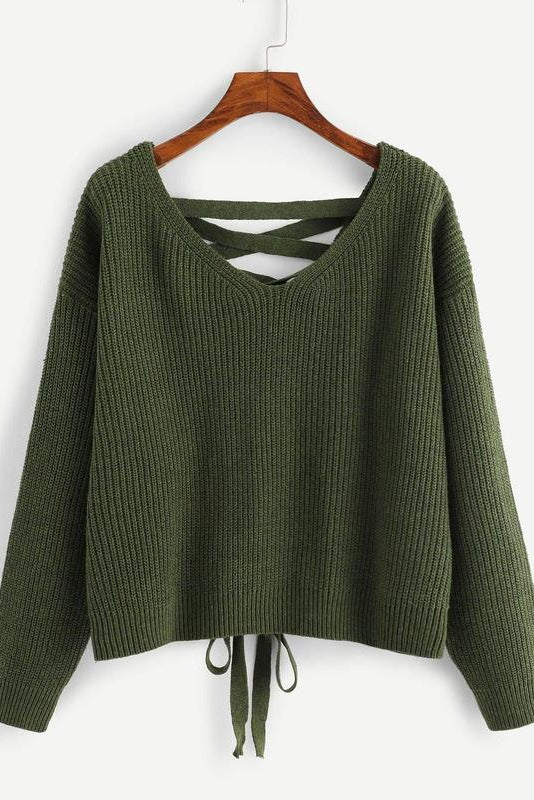 Lace Up Back Drop Shoulder Sweater
