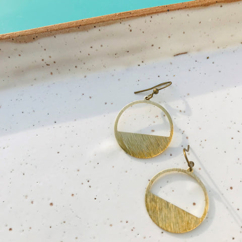 Dear Darlington Textured Brass Cresent Hoop Earrings