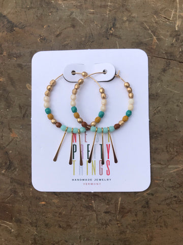 Nest Pretty Things Beaded Hoop & Gold Fill Fringe Earrings