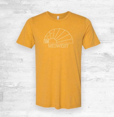 Midwest Horizon Tee in Mustard Yellow