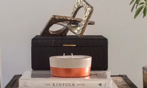 Copper Dipped Concrete Candle