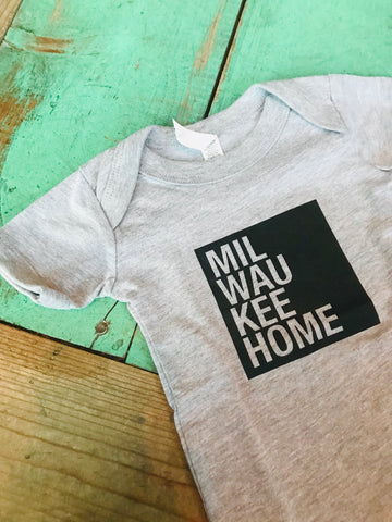 Black on Grey MilwaukeeHome Onesie
