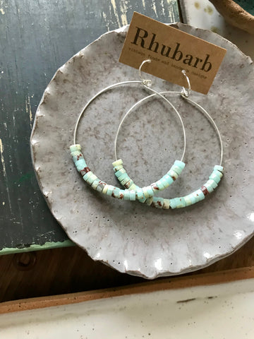 Rhubarb Aqua Stone Heishe Earrings