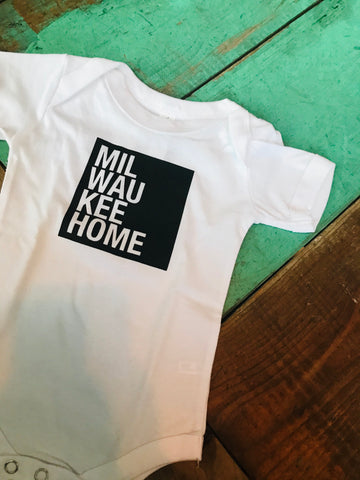 Black on White MilwaukeeHome Onesie