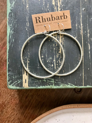 Rhubarb Beaded Hoop Earrings-Silver