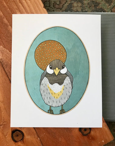 Chickadee illustration (original or prints available)