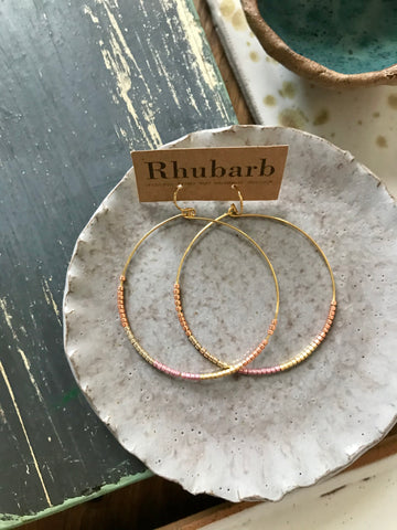 Rhubarb Copper Ombré Beaded Hoop Earrings