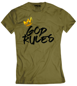 God Rules Olive Women's Tee