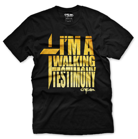 Walking Testimony Black/Metallic Gold Tee - Unisex
