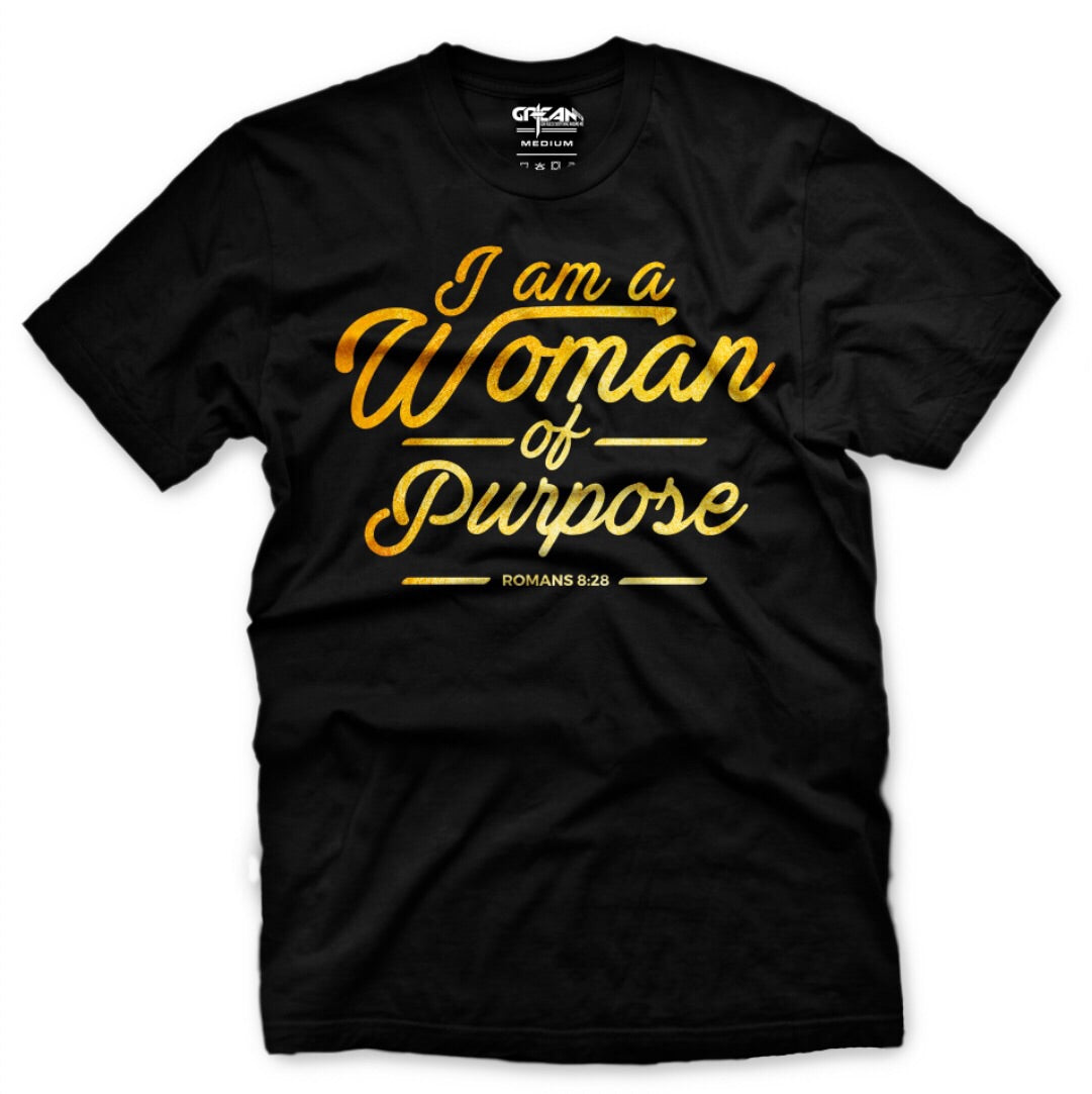 Woman Of Purpose Black/Metallic Gold Tee