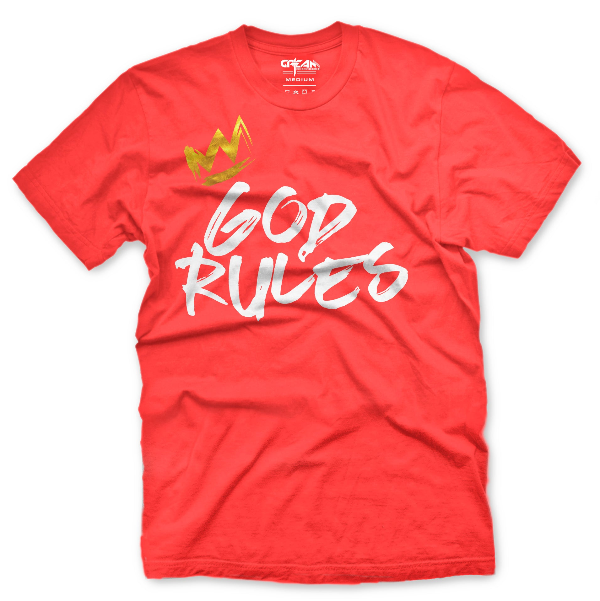 God Rules Coral Tee w/white logo - Unisex