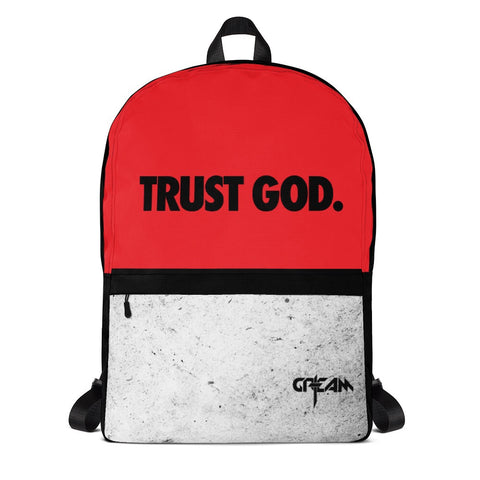 Red TRUST GOD Backpack