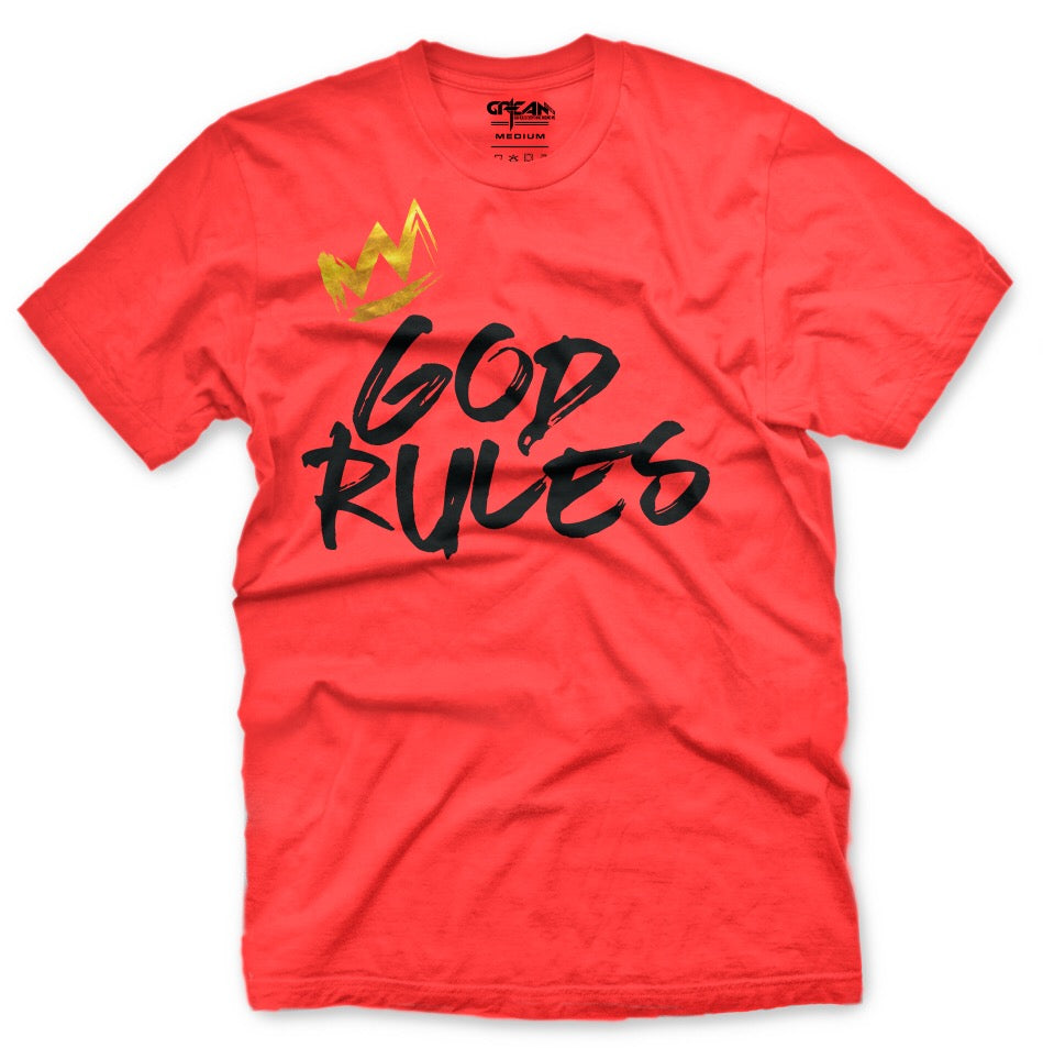 God Rules Coral Tee w/black logo - Unisex