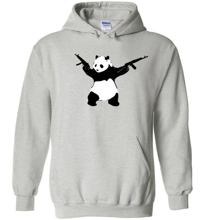 Banksy Style Panda with Guns - AK-47 Men's Hoodie - Ash