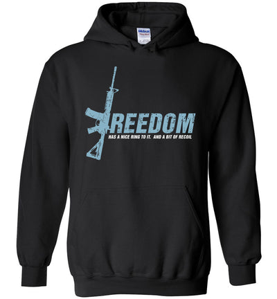 Freedom Has a Nice Ring to It. And a Bit of Recoil - Men's Pro Gun Clothing - Black Hoodie