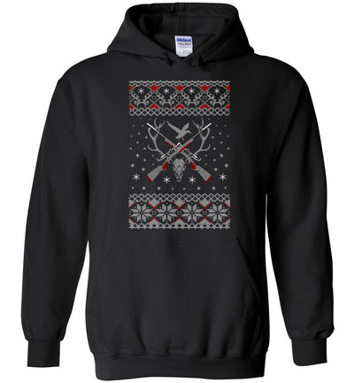 Hunting Ugly Christmas Sweater - Shooting Men's Hoodie - Black