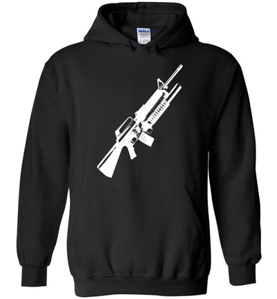 M16A2 Rifles with M203 Grenade Launcher - Pro Gun Tactical Men's Hoodie - Black