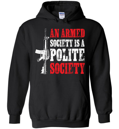 An Armed Society is a Polite Society - Shooting Men's Hoodie - Black