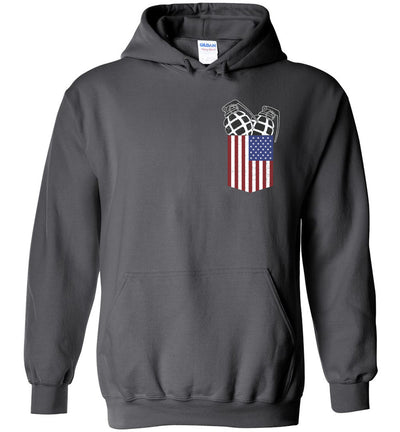 Pocket With Grenades Men's 2nd Amendment Hoodie - Charcoal