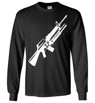 M16A2 Rifles with M203 Grenade Launcher - Pro Gun Tactical Men's Long Sleeve Tee - Black
