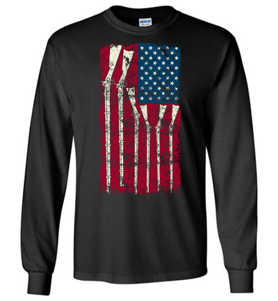 American Flag with Guns - 2nd Amendment Men's Long Sleeve T Shirts - Black