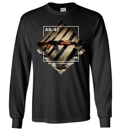 AK-47 Rifle - Tactical Men's Apparel - Black Long Sleeve Tee