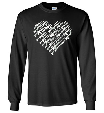 I Love Guns, Heart Made of Guns - Men's Long Sleeve T Shirt - Black