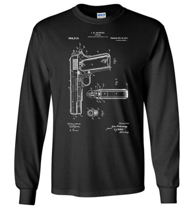 Colt Browning 1911 Handgun Patent Men's Long Sleeve Tshirt -  Black