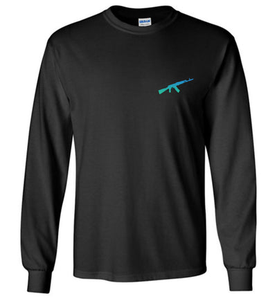 AK-47 AKM Rifle Silhouette Firearm Men's Long Sleeve Tshirt - Black