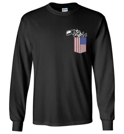 Gun in the Pocket, USA Flag-2nd Amendment Men's Long Sleeve T Shirts-Black