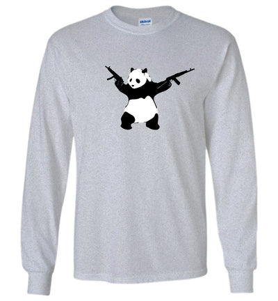 Banksy Style Panda with Guns - AK-47 Men's T Shirts - Sports Grey