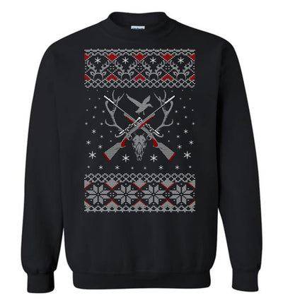 Hunting Ugly Christmas Sweater - Shooting Men's Sweatshirt - Black