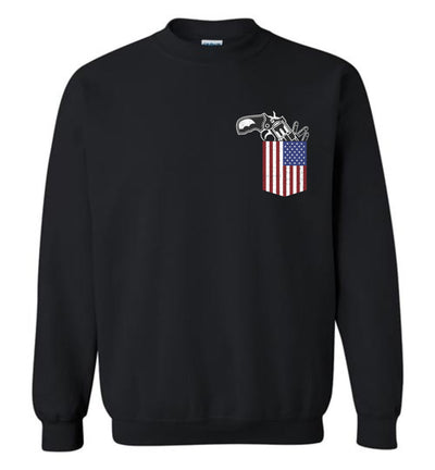 Gun in the Pocket, USA Flag-2nd Amendment Men's Sweatshirt-Black