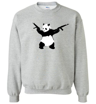 Banksy Style Panda with Guns - AK-47 Men's Sweatshirt - Sports Grey