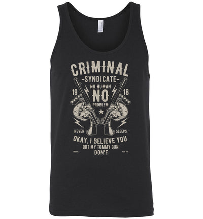Thompson Submachine Gun Men's Pro Gun Tank Top - Black