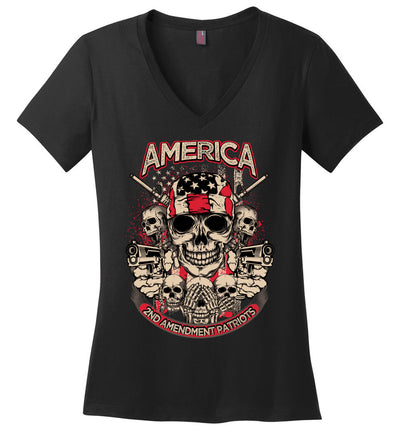 2nd Amendment Patriots - Pro Gun Women's Apparel - Black V-Neck Tshirt