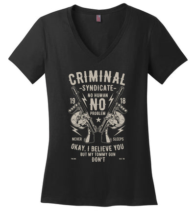 Thompson Submachine Gun Women's Pro Gun V-Neck Tee - Black