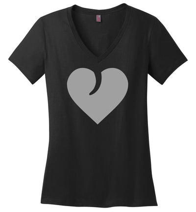 I Love Guns, Heart and Trigger - Ladies 2nd Amendment Apparel - Heathered Steel V-Neck Tshirt