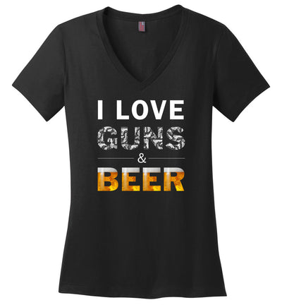 I Love Guns & Beer - Women's Pro Firearms Apparel - Black V-Neck T Shirts