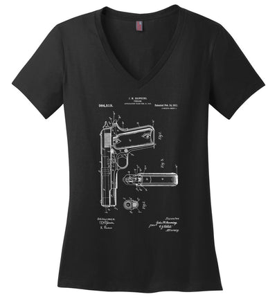 Colt Browning 1911 Handgun Patent Women's V-Neck Tshirt - Black