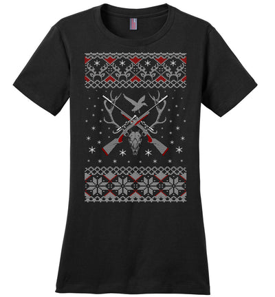 Hunting Ugly Christmas Sweater - Shooting Ladies T-Shirt - Black