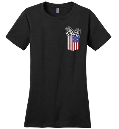 Pocket With Grenades Women's 2nd Amendment T-Shirt - Black
